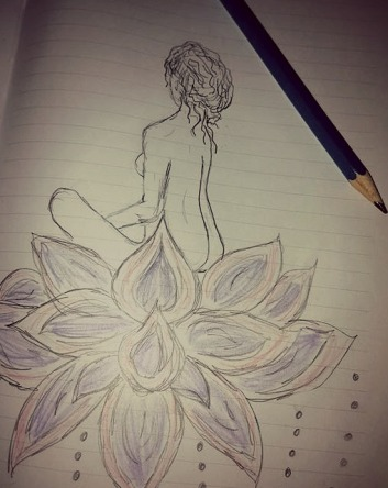 sketchbook - girl on lotus